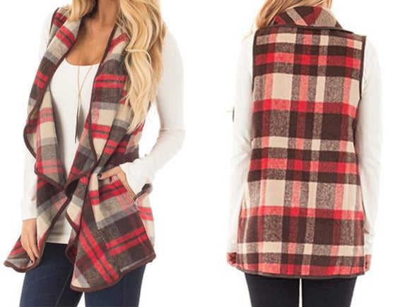 Brown & Burgundy Plaid Vests w/Pockets