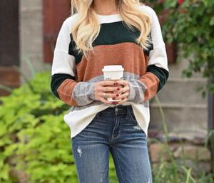 Fall Spice Colorblock Top