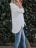V-Neck Tie Front Top - Ivory/White