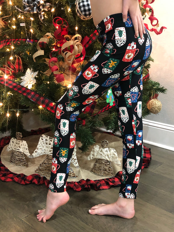 YOUTH Buttery Soft Christmas Print Leggings  + FREE SHIPPING