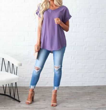 V-Neck Cuffed Sleeve Tops + FREE SHIPPING