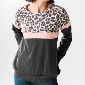 Jennie Colorblock Leopard Pullover + FREE SHIPPING