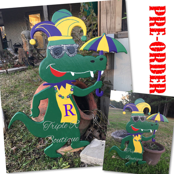Mardi Gras - Good Times Gator Door Hanger or Yard Decor