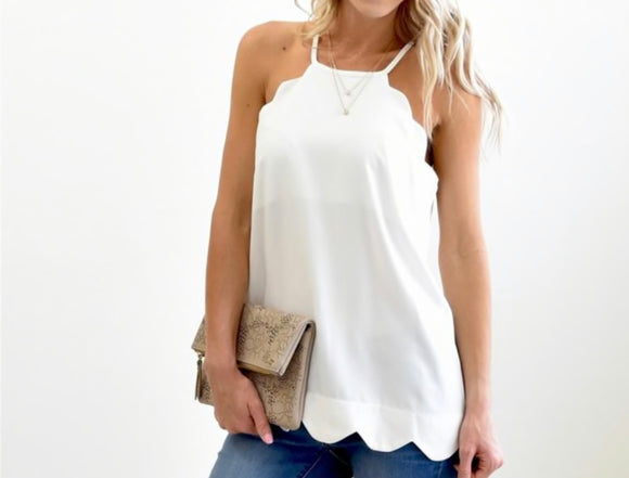 Scalloped Tank - Ivory/White