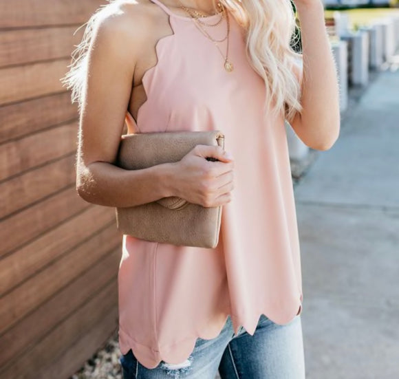Scalloped Tank - Blush