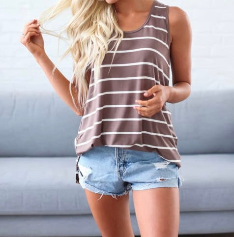 Summer Lovin' Sleeveless Top - Mocha