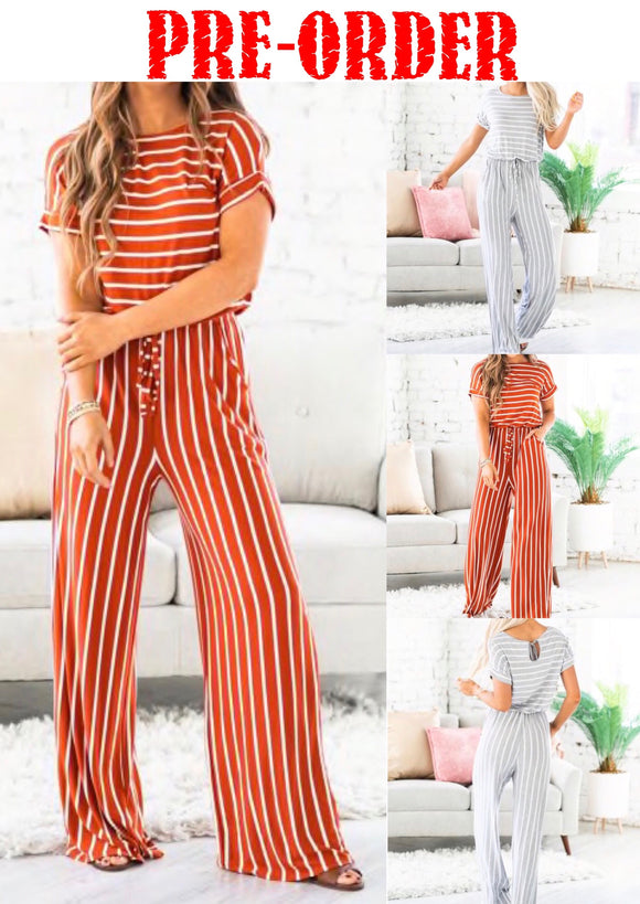 See You In Boston Striped Jumpsuit w/POCKETS