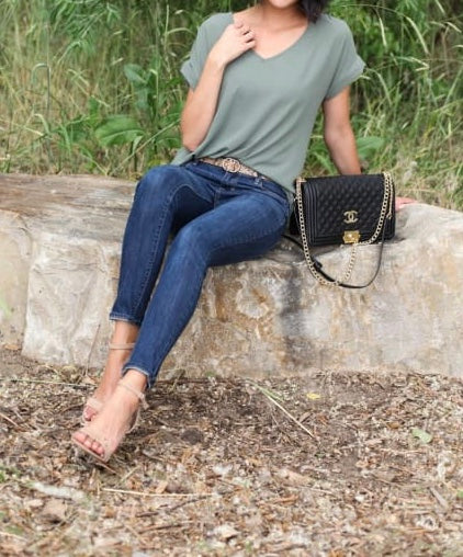 V-Neck Cuffed Sleeve Tops - Light Olive + FREE SHIPPING