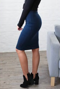 Solid Pencil Skirts - Midnight Navy