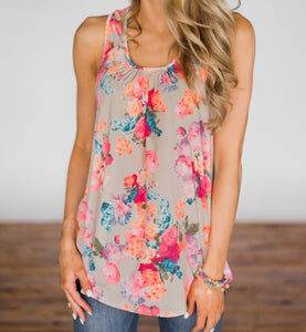 Kami Floral Sleeveless Top - Khaki