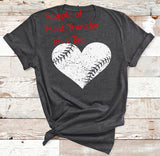 Grunge Heart Baseball/Softball HEAT TRANSFER