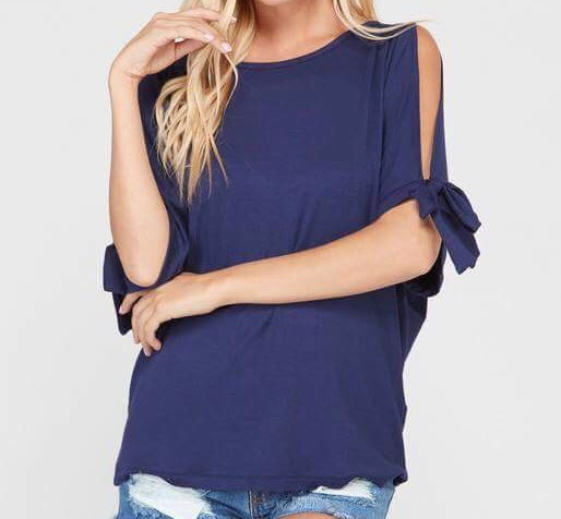 Tie Sleeve Tunic Top - Navy