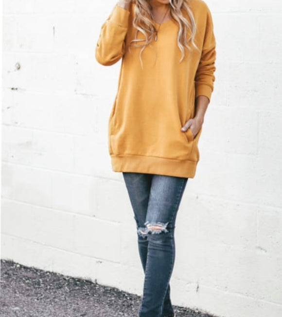 Linden V-Neck Sweatshirt Tunic + FREE SHIPPING