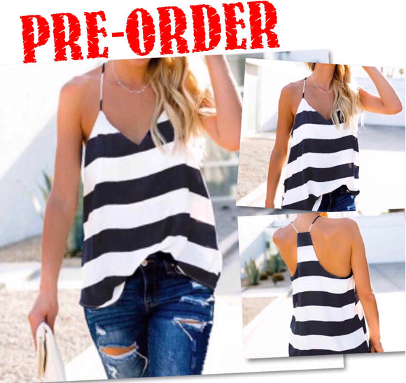 V-Neck Striped Racorback Sleeveless Top