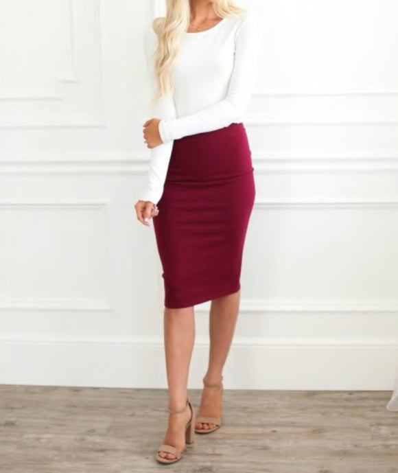 Solid Pencil Skirts - Cabernat