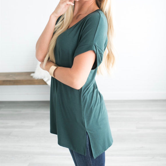 Let's Be Friends Rolled Sleeve V-NECK Tunic Top - Hunter Green