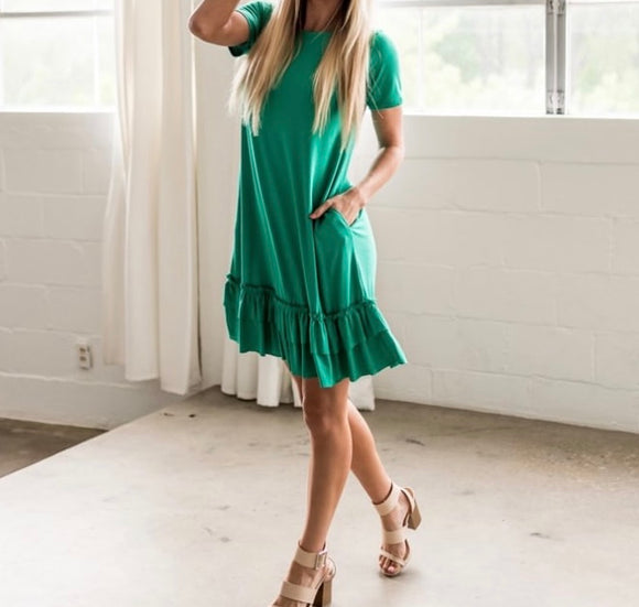 Ruffle Hem Dress w/Pockets - Short Sleeve - Kelly Green