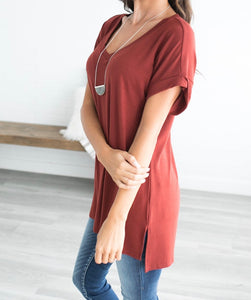 Let's Be Friends Rolled Sleeve V-NECK Tunic Top - Rust