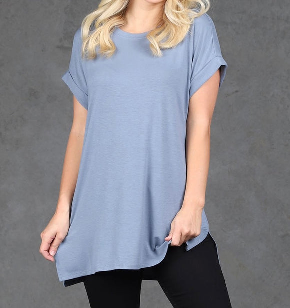 Let's Be Friends Rolled Sleeve Tunic Top - Cement