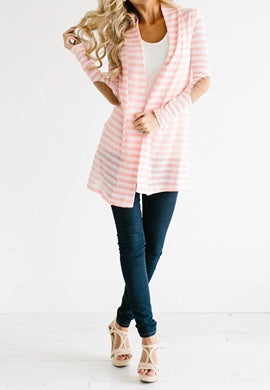 Spring Cardigans w/Stripes & Elbow Patch Details