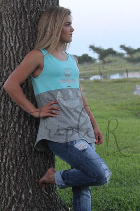 Anchor Detail 2-Toned Sleeveless Top