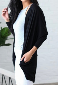 Effortless Style Cardigan w/Pockets - Black + FREE SHIPPING