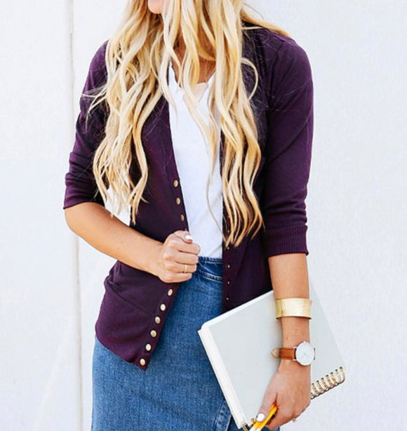 Snap Cardigan - 3/4 Length Sleeves - Purple