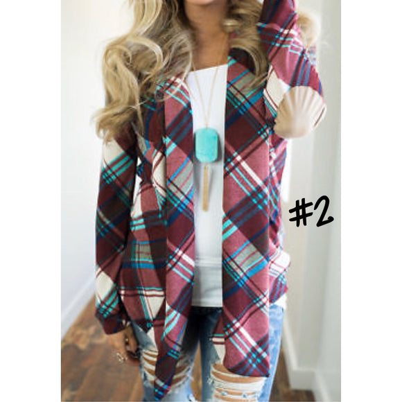 Plaid Cardigans w/Elbow Patches