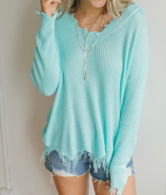 Frayed Lightweight Sweater - Mint