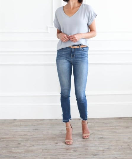 V-Neck Cuffed Sleeve Tops - Light Grey + FREE SHIPPING