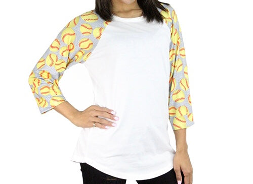 Softball Print Raglan Tee