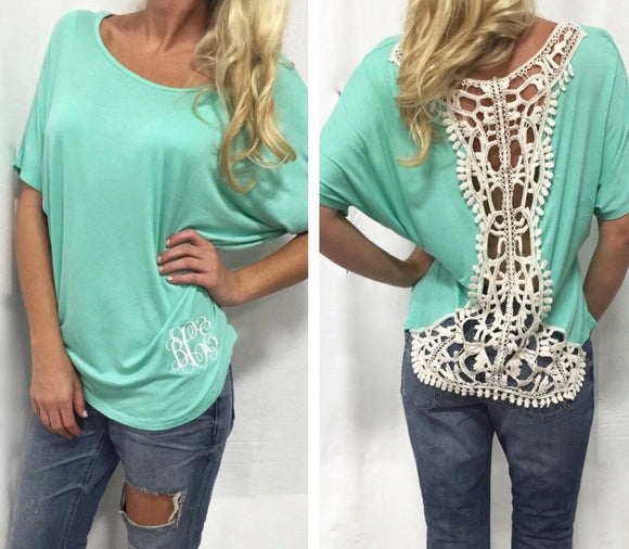 Short Sleeve Crochet Back Top