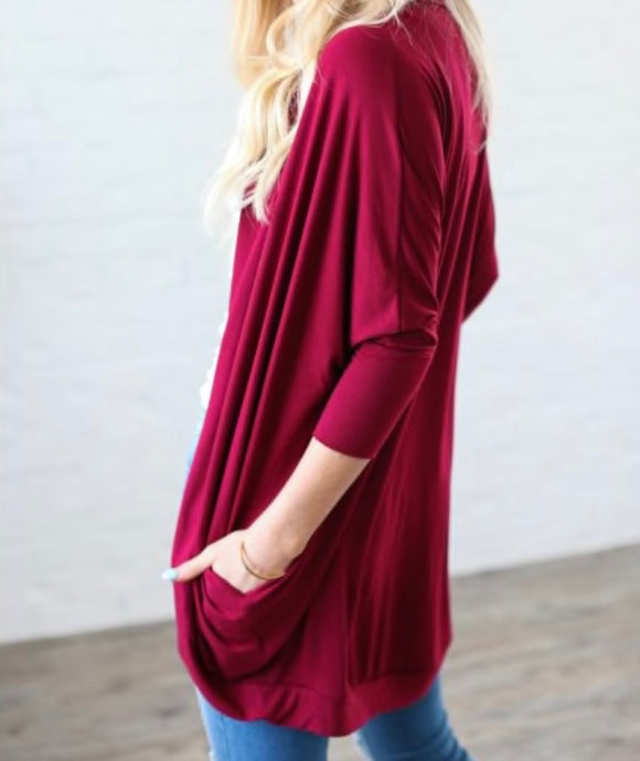 Effortless Style Cardigan w/Pockets - Cabernet + FREE SHIPPING