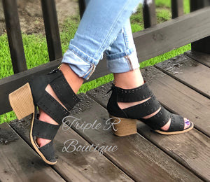 Emily Open Toe Stacked Heels - Black