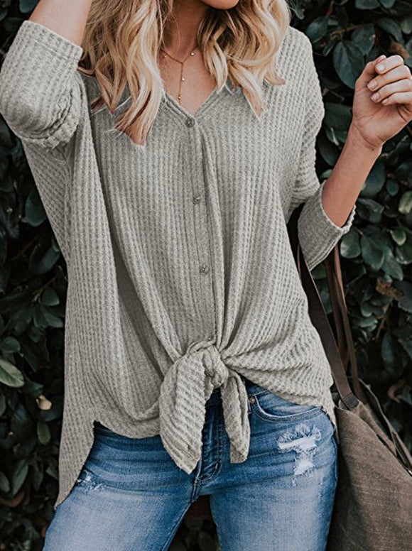V-Neck Tie Front Top - Grey