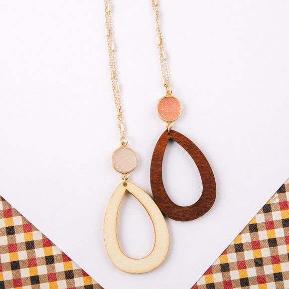 Wood Teardrop Druzy Necklace + FREE SHIPPING