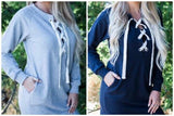 Lace-Up French Terry Sweatshirt Tunic w/Pockets