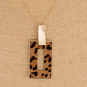 Square Leopard Pendant Necklace + FREE SHIPPING