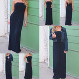 Strapless Maxi Dresses w/Pockets