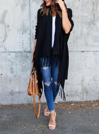Lightweight Fringe Cardigan - Black