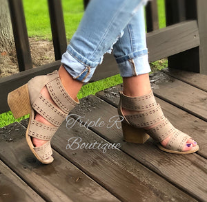 Emily Open Toe Stacked Heels - Taupe