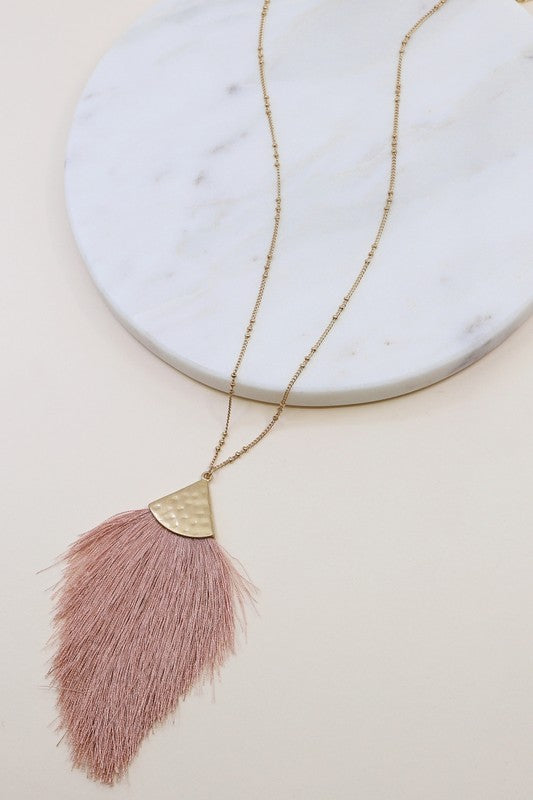 Dainty Tassel Necklace & Earrings - Dusty Pink