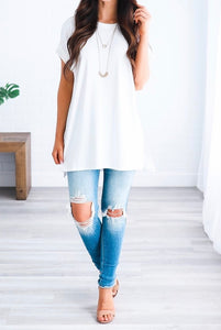 Let's Be Friends Rolled Sleeve Tunic Top - Ivory