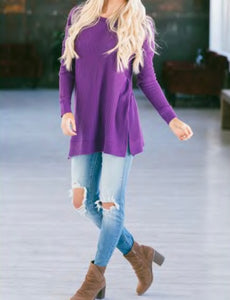 Remi Round Neck Tunic Sweater - Purple