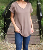 V-Neck Cuffed Sleeve Tops - Mocha + FREE SHIPPING