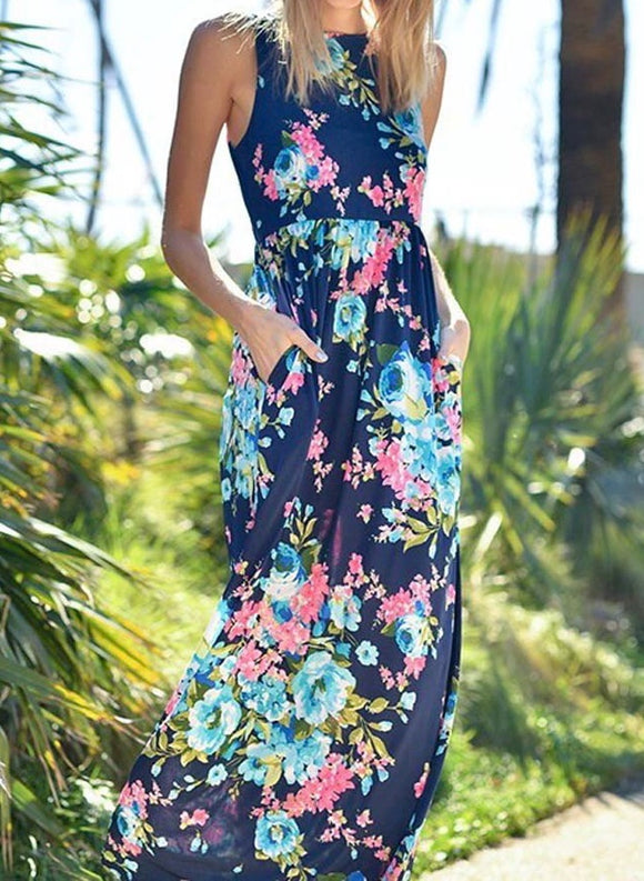 Floral Print Sleeveless Maxi Dress w/POCKETS