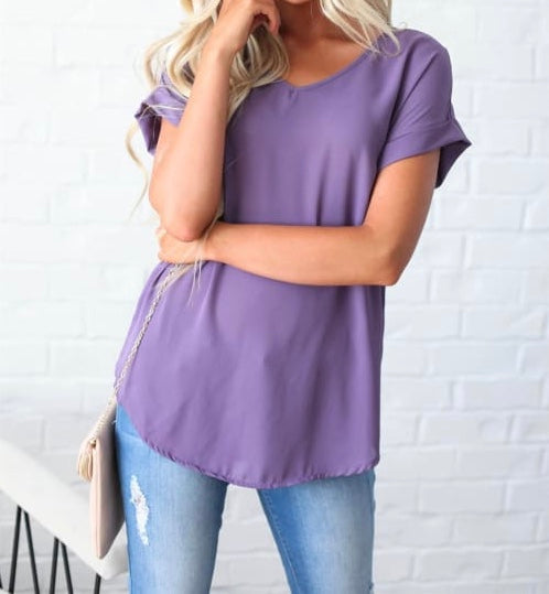 V-Neck Cuffed Sleeve Tops - Lilac Grey + FREE SHIPPING