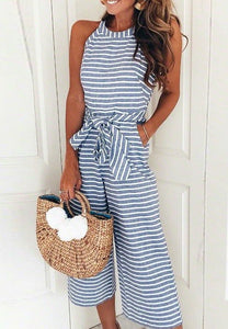 Striped Jumpsuit w/Pockets - Blue