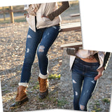 Distressed Pull-On Denim Jeggings