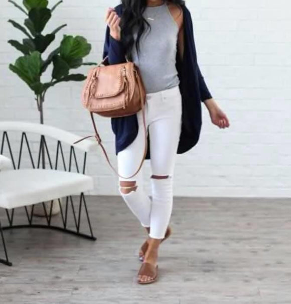 Effortless Style Cardigan w/Pockets - Navy